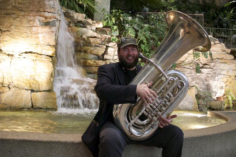 Tuba player Christian Leclerc traveled from Montreal, Canada to perform at Folk Alliance International.