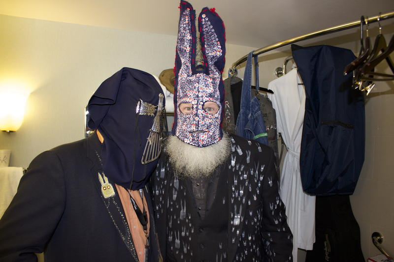 The Kansas City band 'Frieghtrain Rabbit Killer' shows off their homemade masks inside their hotelroom bathroom.