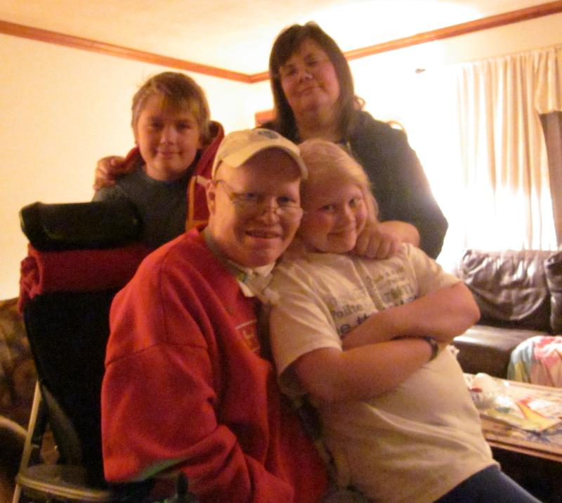 Finn Bullers surrounded by his family in the fall of 2013.