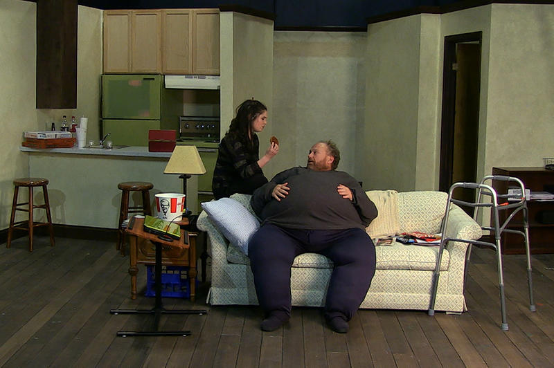 Daria LeGrand (Ellie) and Phil Fiorini (Charlie) rehearse a scene from 'The Whale' at Unicorn Theatre.
