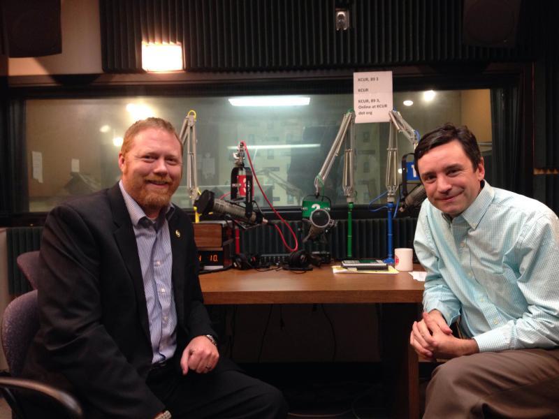 Sen. Jason Holsman (left) spoke with host Brian Ellison.