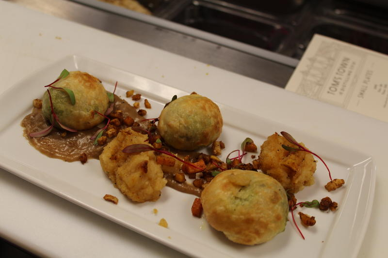 Tom's Town chef Tim Touhy was inspired by prohibition-era cuisine when he created the small plates menu for the distillery's Tasting Room. Here are his Shepherd's Pie Wellingtons.
