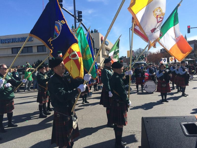 This flag corps marched down Broadway to kick off the celebration.