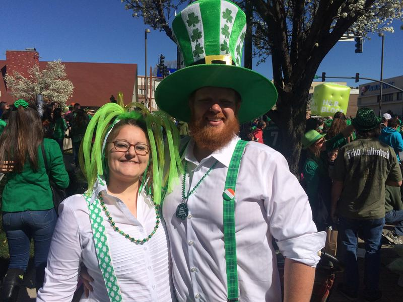 "Cynthia and Justin Willcockson, who admitted being a ""giant leprechaun,"" loved dressing up for the parade. Justin said blarney amounts to, simply, ""B.S."" Maybe he means Blarney Stone?"