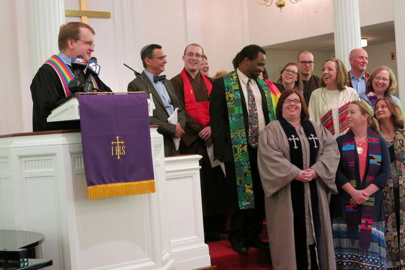 Rev. Chase Peeples with the Country Club Congregational United Church of Christ organized an interfaith coalition to speak against Missouri Senate Joint Resolution 39. Peeples says the religious freedom bill will hurt LGBT individuals.