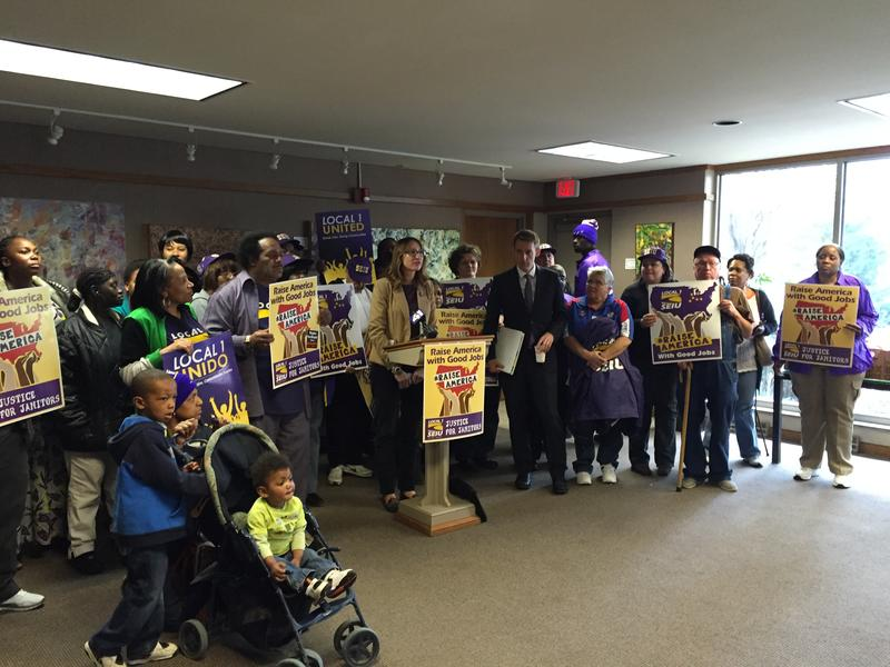 Missouri Secretary of State and U.S. Senate candidate Jason Kander joined area janitors Saturday to kick off a campaign for higher wages.