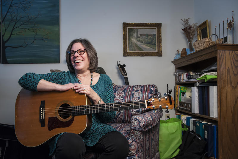 One of Linda Salvay's jobs is teaching music to very young children.