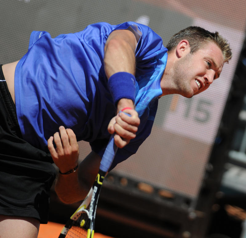 Jack Sock will face Marcos Baghdatis in the he quarterfinals of the U.S. Men's Clay Court Championship.