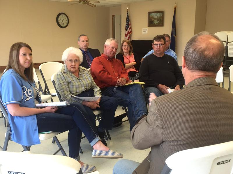 Conservative Republican Sen. Forrest Knox faces voters in Gridley, Kansas.