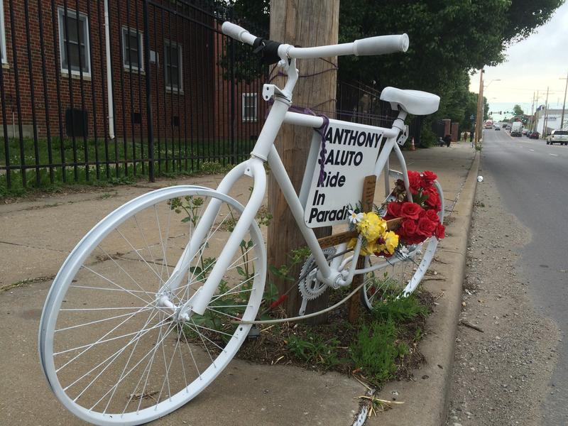 Friends of cyclist Anthony Saluto installed a 'ghost bike' in his memory in northeast Kansas City.