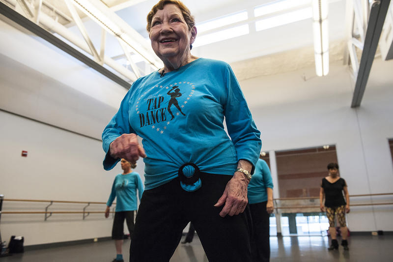 Billie Mahoney demonstrates a step during a rehearsal at The Bolender Center.