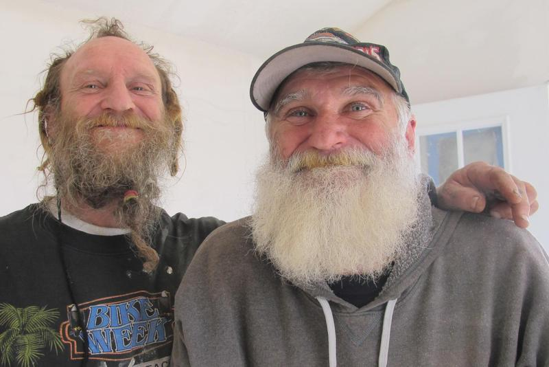 The homeless Army veteran who inspired the Veterans Community Project, White Hawk (right), with his friend Jerry.