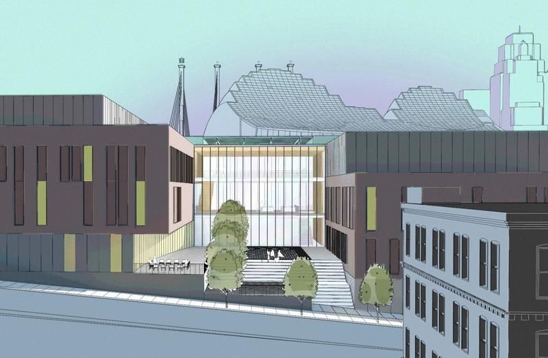 A rendering of plans for the UMKC Conservatory's downtown arts campus. UMKC now says the newly announced merger of the Conservatory and the theater department 'will require a different building configuration.'