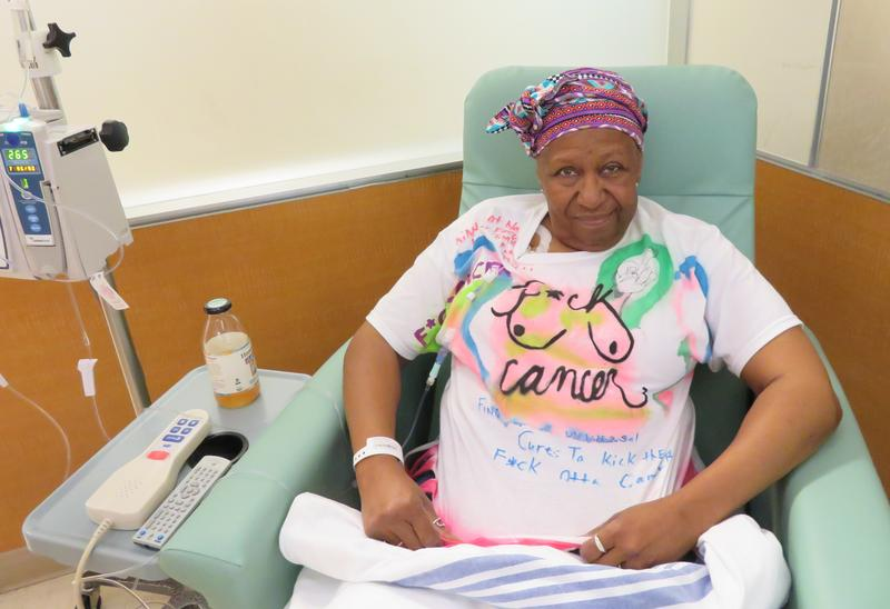 For her final chemotherapy treatment, Nedra Bonds wore a T-shirt made by a 12-year-old at her 'F*ck Cancer Party.'