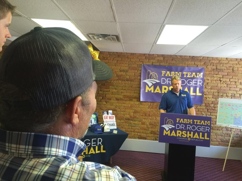 Roger Marshall, a Great Bend physician and GOP candidate for Kansas' First Congressional District, speaks at a press conference announcing the coalition of agriculture groups who support him.