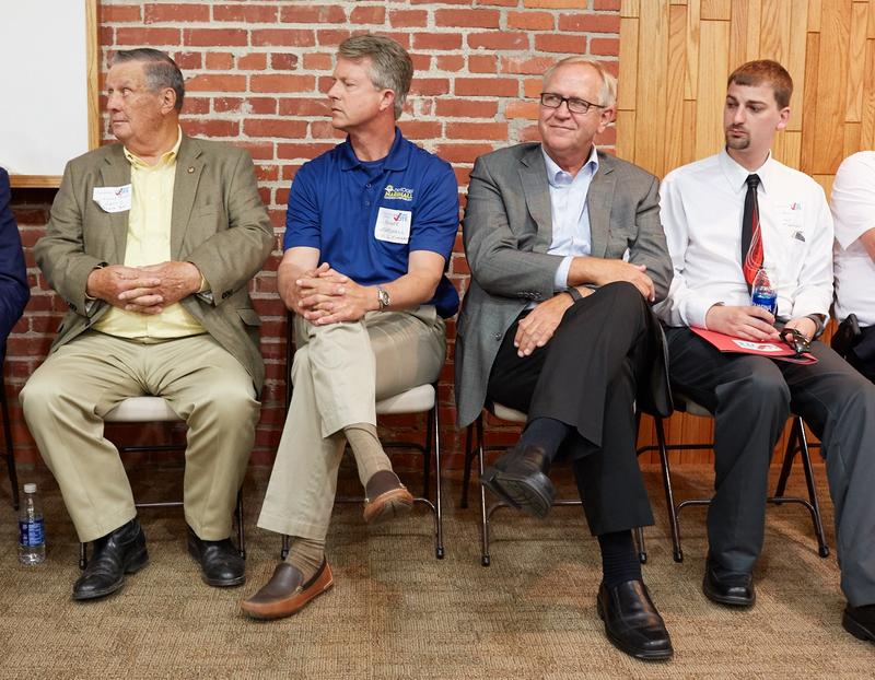 A line-up of candidates at a meet-and-greet in Ulysses, Kansas. From left to right: District 39 Sen. Larry Powell, Congressional candidate Roger Marshall, state Rep. John Doll, and Democratic challenger Zach Worf.