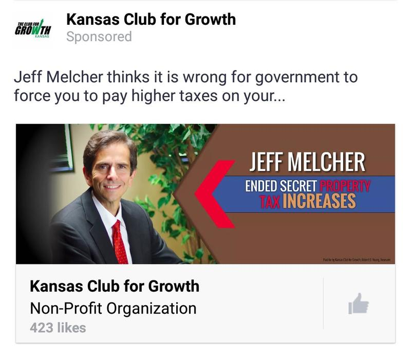 Kansas Club for Growth has paid for Facebook ads  using the 'secret tax increases' language in support of Johnson County Sen. Jeff Melcher's reelection campaign.