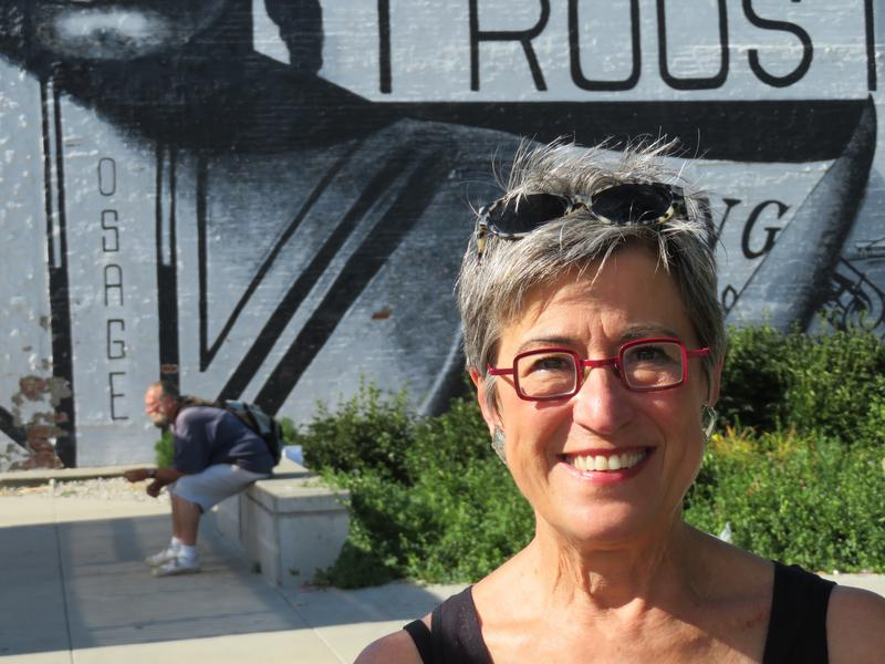 Playwright Donna Ziegenhorn at the corner of 31st Street and Troost Avenue.