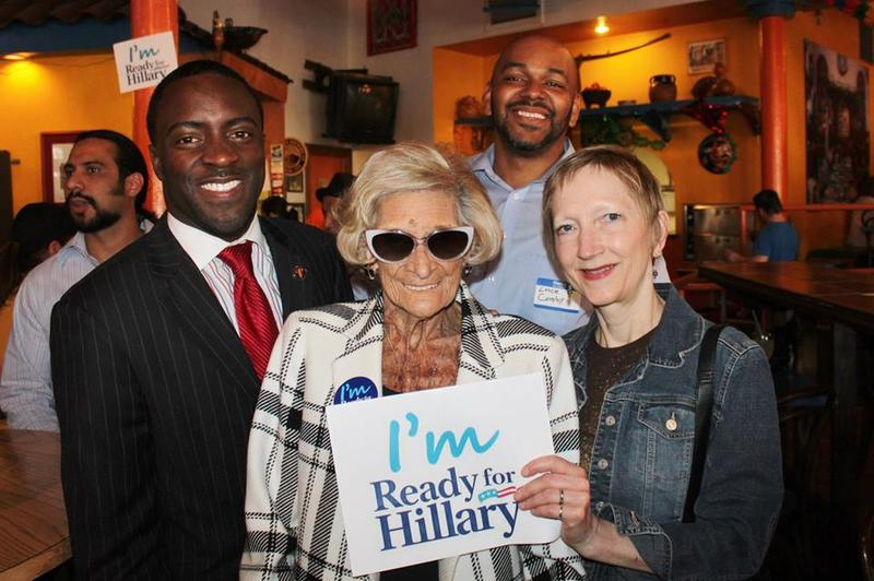 Dutch Newman (center) attended an event in 2014 in support of Hillary Clinton's presidential bid.