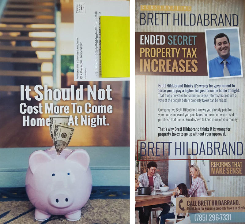 A postcard sent by Kansas Club for Growth in support of incumbent Johnson County Rep. Brett Hildabrand references 'secret property tax increases.'