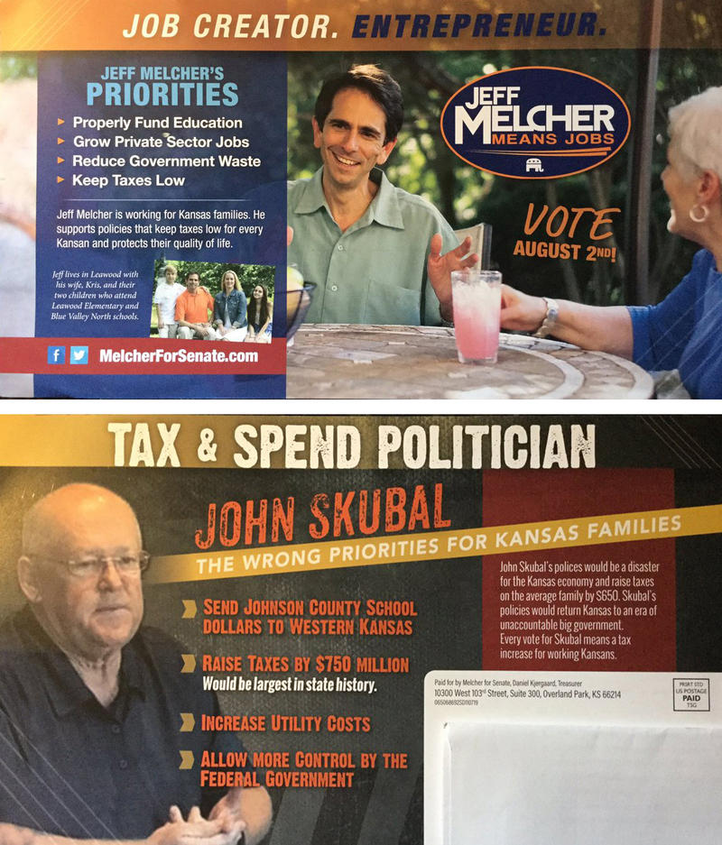 The message on a postcard paid for by Sen. Jeff Melcher's reelection campaign is similar to what's been sent out by political action committees.