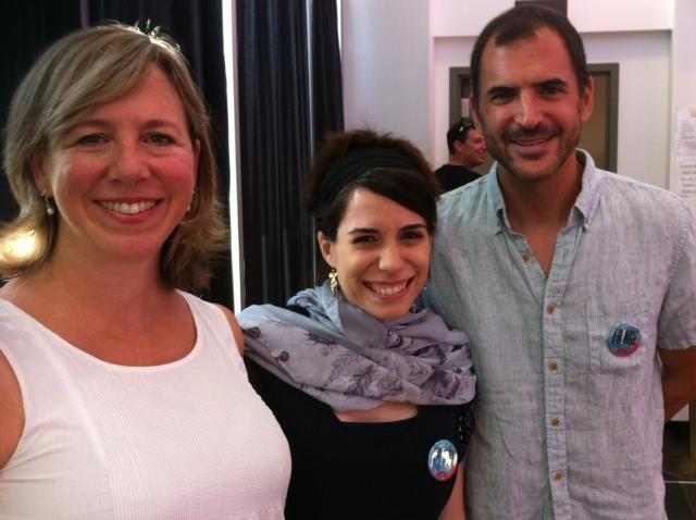 """From left, playwrights Sarah Aptilon, Inbar Kahn, and Victor Wishna, on opening night of KC Fringe and """"Desperate Acts,"""" at KC's Just Off Broadway Theatre, Friday, July 22, 2016."""