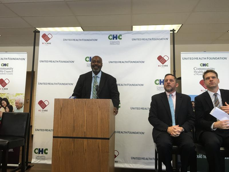 Jerry Jones, executive director of the Community Health Council of Wyandotte County, talks about the virtues of collaboration as Mayor Mark Holland , to his right, and Tim Spilker, CEO of UnitedHealthcare Community Plan of Kansas, look on.