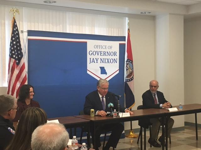 Missouri Gov. Jay Nixon was in Warrensburg Thursday to talk about mental health training for police officers. He's in the middle of a funding dispute about funding for Missouri's public defender system.