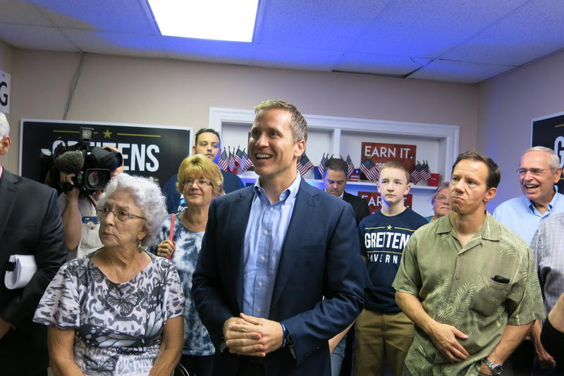 Eric Greitens stands with his supporters during a campaign stop in Lee's Summit Friday.