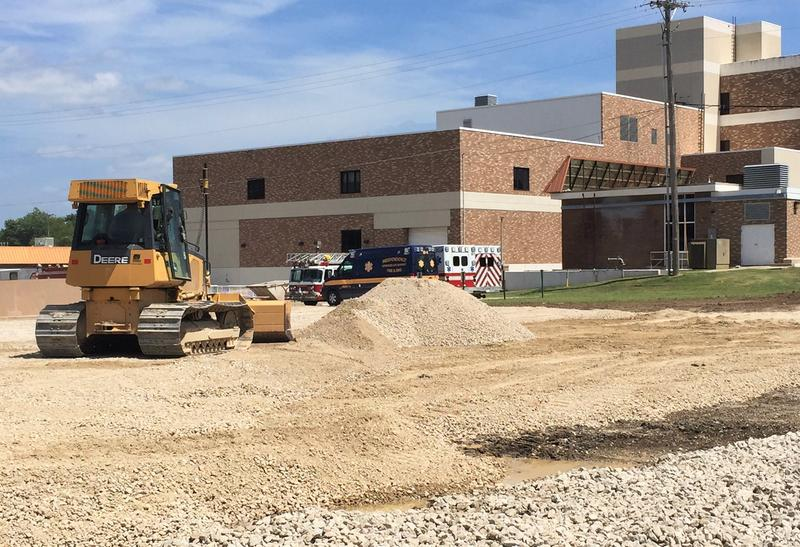 A large portion of Mercy Hospital in Independence has been torn down since its closure in the fall of 2015. A garage for city emergency vehicles is being constructed in its place.