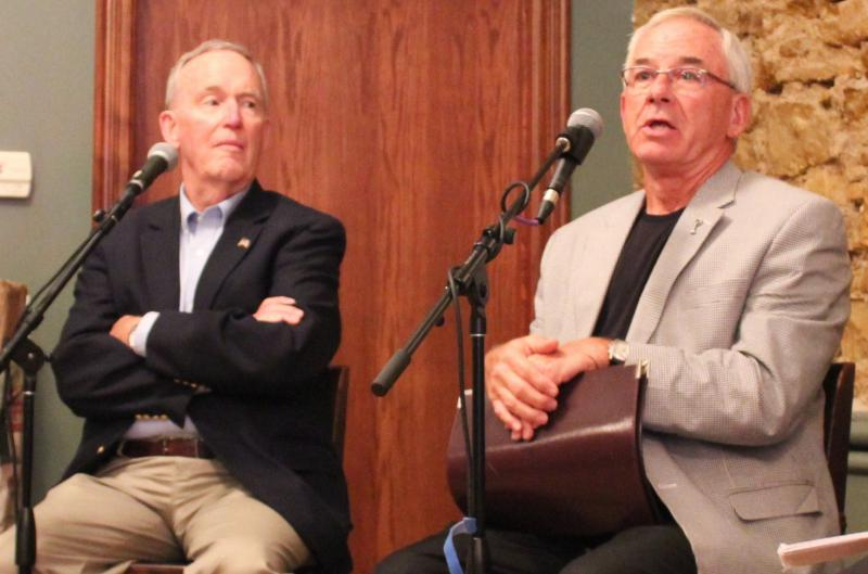 Former Gov. John Carlin (left) and former Kansas House Speaker Mike O'Neal squaring off over the size of government at recording of Statehouse Blend.