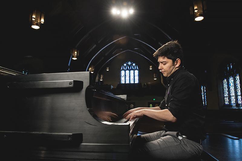 Pianist Behzod Abduraimov rehearses at the Graham Tyler Memorial Chapel at Park University in Parkville, Missouri.