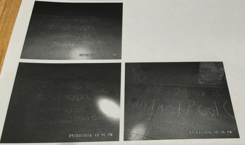 Police photos from Sept. 3 show messages left on the Bethany College campus tagged with the name of the white nationalist group Identity Evropa.