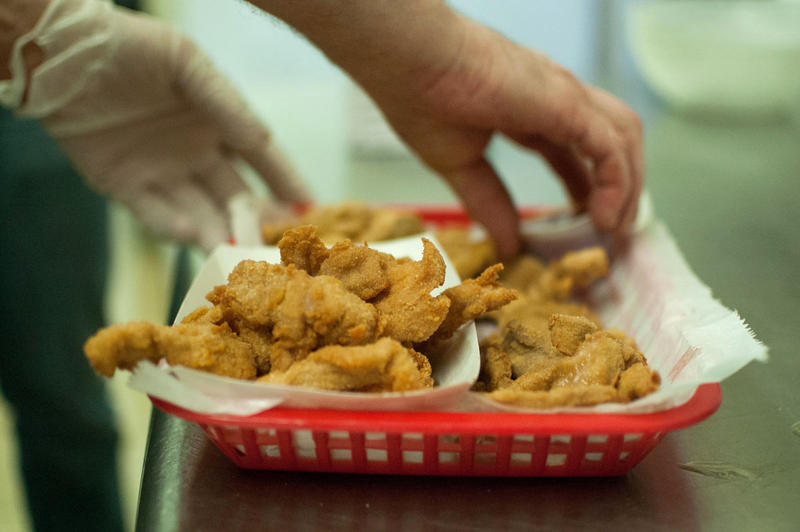 Skinned, sliced, battered, deep-fried animal testicles served as Rocky Mountain Oysters at Bruce's Bar in Severance, Colorado.