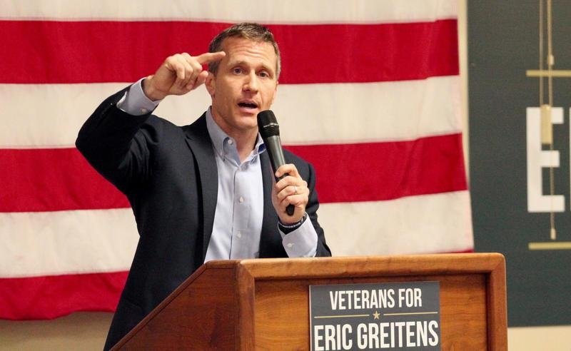 Missouri Republican gubernatorial candidate Eric Greitens gestures during a speech in Overland, Missouri.