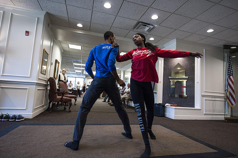 New York-based dancers Jacoby Pruitt (left) and Khalia Campbell from Ailey II perform at Country Club Bank in Prairie Village, Kansas on September 27.