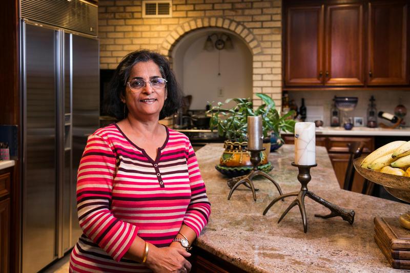 Jyoti Mukharji in her home kitchen.