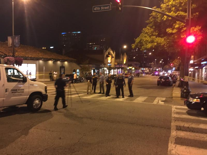 Kansas City police block of the street after a shooting Saturday night at the Country Club Plaza.