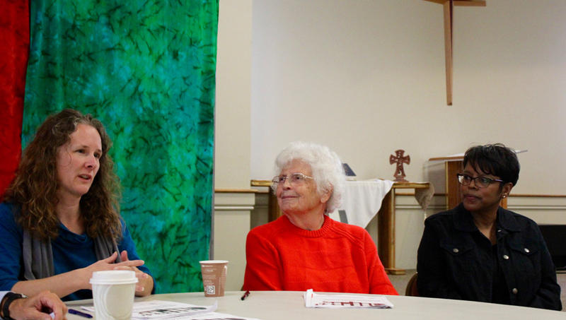 Religious leaders in Lawrence are calling for a new approach to mental health treatment options rather than incarceration. Members of Justice Matters include, from left, Joanna Harader, Barbara Palmer and Kathy Williams.