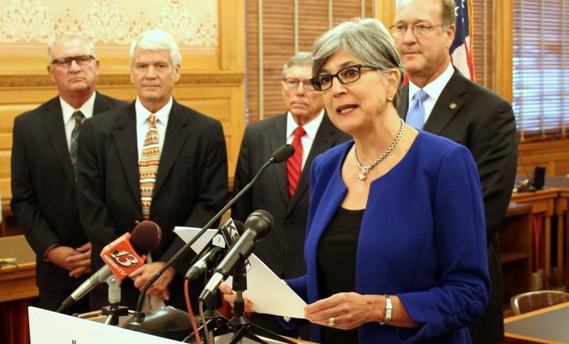 Kansas Senate President Susan Wagle outlining new policy proposals to address voter frustrations.