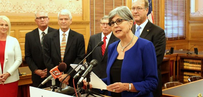 Senate President Susan Wagle outlines a series of policy proposals aimed at winning seats for Republicans in the election. She is joined by other Republican senators and candidates for the chamber.