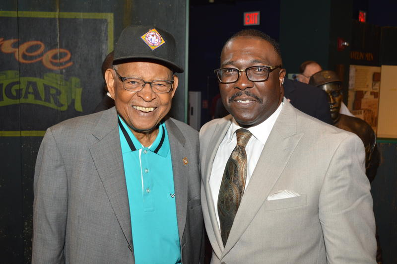 Don Motley, left, with current Negro Leagues Baseball Museum President Bob Kendrick.