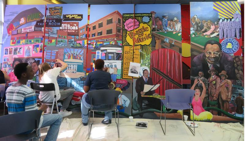 On the Saturday before it was to be unveiled at the American Jazz Museum, community volunteers gathered to paint the 'Harmony on the Vine' mural.
