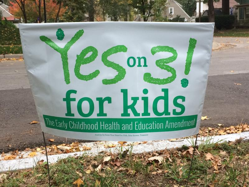 A yard sign in the Brookside neighborhood of Kansas City urging passage of Amendment 3.