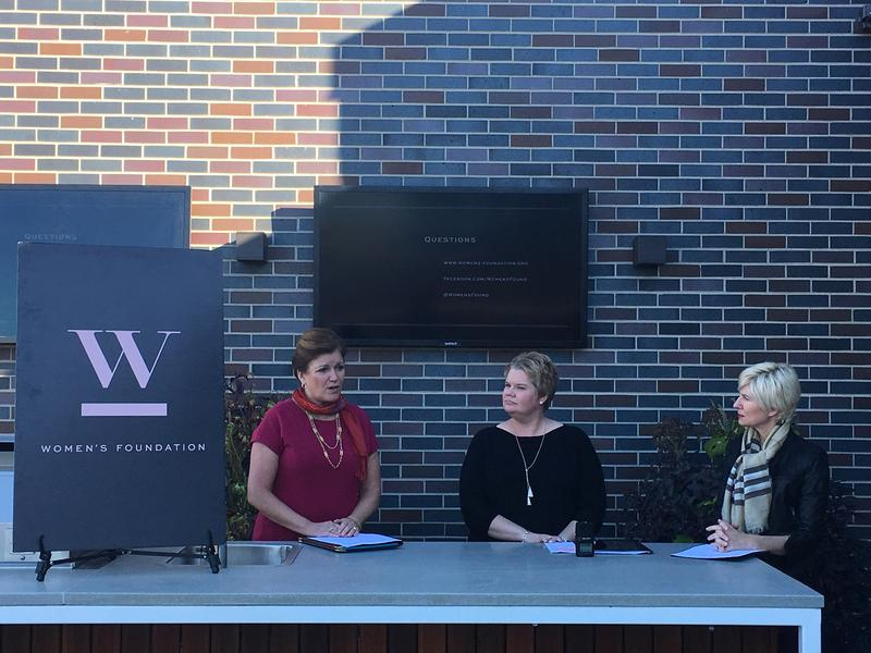 Katie Steele Danner, director of the Missouri Division of Professional Registration; Emily Johnson, lead researcher at the University of Missouri Institute of Public Policy; and Wendy Doyle, president and CEO of the Women's Foundation, discuss the study.
