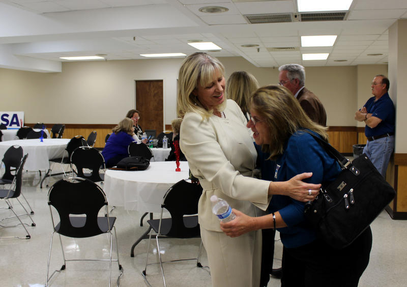 After conceding the election for Missouri Attorney General to her Republican opponent Josh Hawley, Teresa Hensley consoles a teary supporter, and friend.