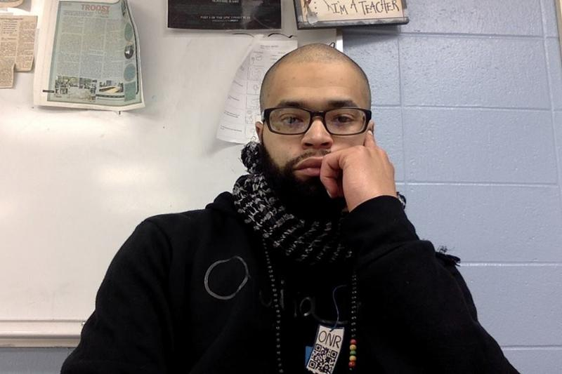 David Muhammad in his classroom at Shawnee Mission East High School