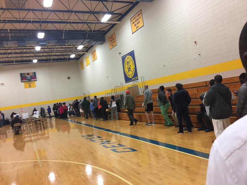 Voters line up in the Center High School gymnasium just after 6 a.m. Tuesday morning.