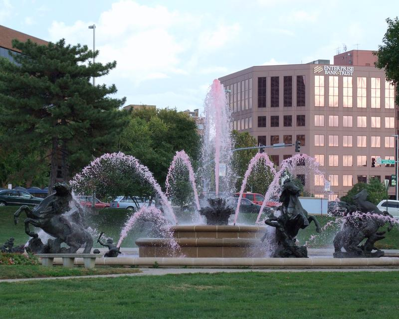 Every October the J.C. Nichols fountain is dyed pink for Breast Cancer Awareness Month. That's not what's turning Kansas City's drinking water pink.