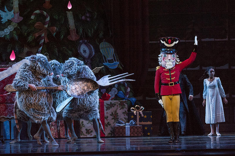 The Nutcracker Prince (Charles Martin) does battle against an army of mice during a dress rehearsal of 'The Nutcracker.'